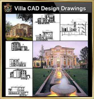 ★【Villa CAD Design,Details Project V.5-French Riviera Style】Chateau,Manor,Mansion,Villa@Autocad Blocks,Drawings,CAD Details,Elevation