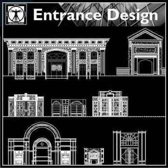 【Architecture CAD Details Collections】Entrance Design CAD Details,Door Details